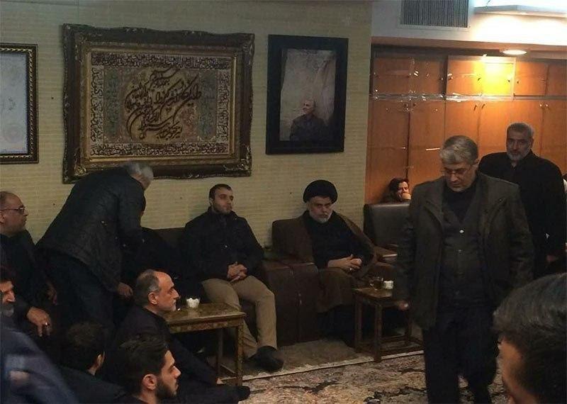 حضور مقتدی صدر در منزل سردار شهید سلیمانی