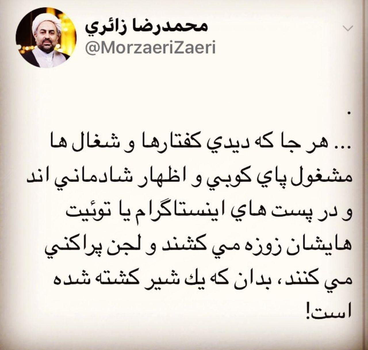 توئیت محمد رضا زائری: بدان که شیری کشته شده