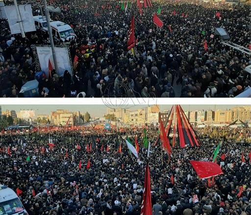 قرائت بیانیه رهبر انقلاب در مراسم تشییع سردار سلیمانی در کرمان