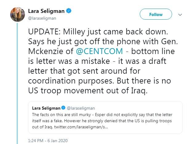 رئیس ستاد مشترک ارتش آمریکا: نامه خروج از عراق نباید منتشر میشد