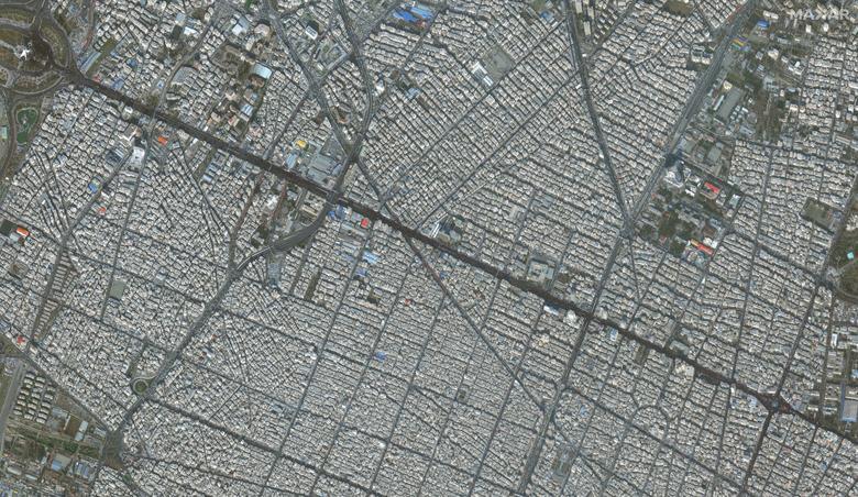 تصویر ماهوارهای از تشییع سردار شهید قاسم سلیمانی در تهران