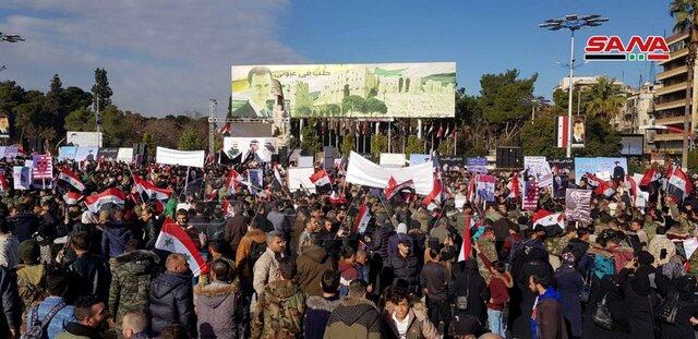 راهپیمایی مردم حلب سوریه درپی شهادت سردار سلیمانی