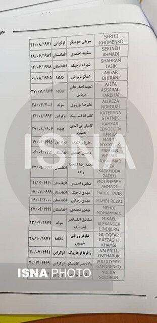 اعلام اسامی مسافران هواپیمای اوکراینی