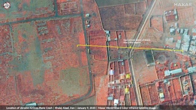 ماهوارههای آمریکایی محل سقوط هواپیمای اوکراینی را رصد کردند