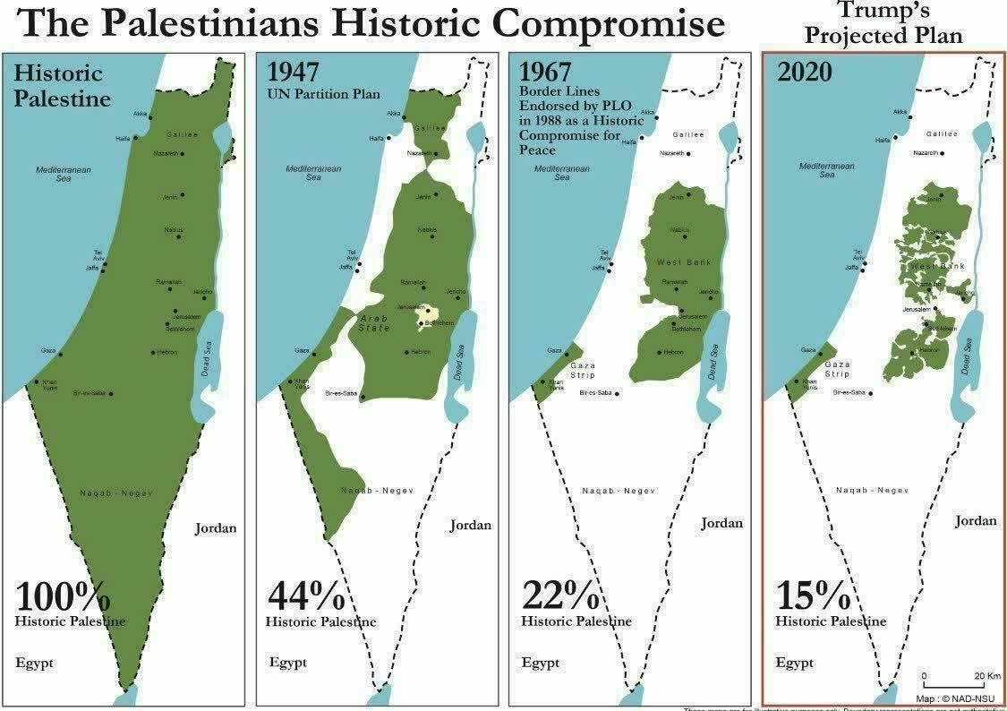 کوچکتر شدن سهم فلسطینی ها (نقشه)