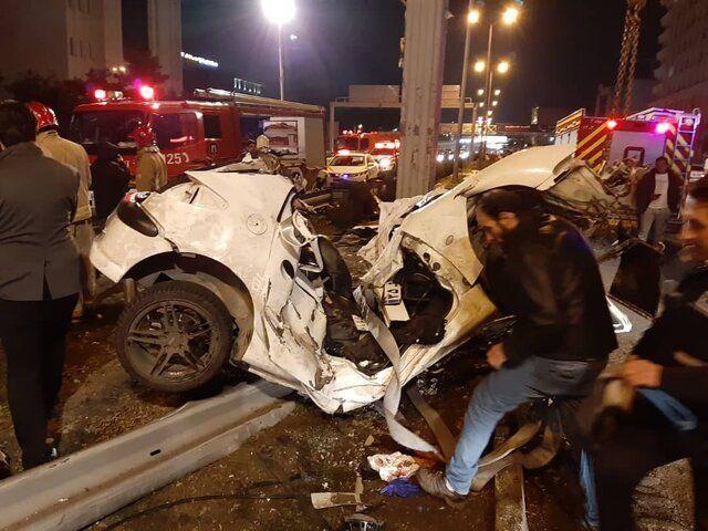 2 کشته و 3 مصدوم در تصادف بامدادی بزرگراه نیایش تهران (+عکس)