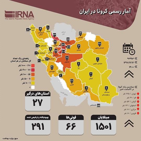 اینفوگرافیک | آمار رسمی کرونا در ایران (۱۳۹۸/۱۲/۱۲)