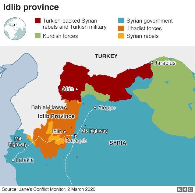 ادلب مناطق مختلف تحت کنترل