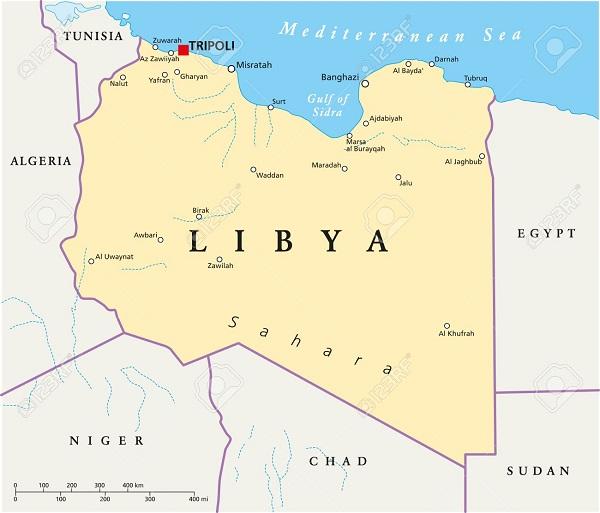 نقشه لیبی و همسایگانش