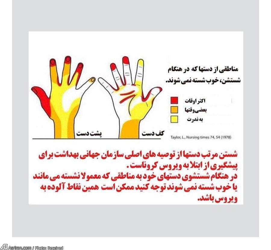 یک نکته تصویری درباره شستن دست ها که احتمالا نمی دانید!