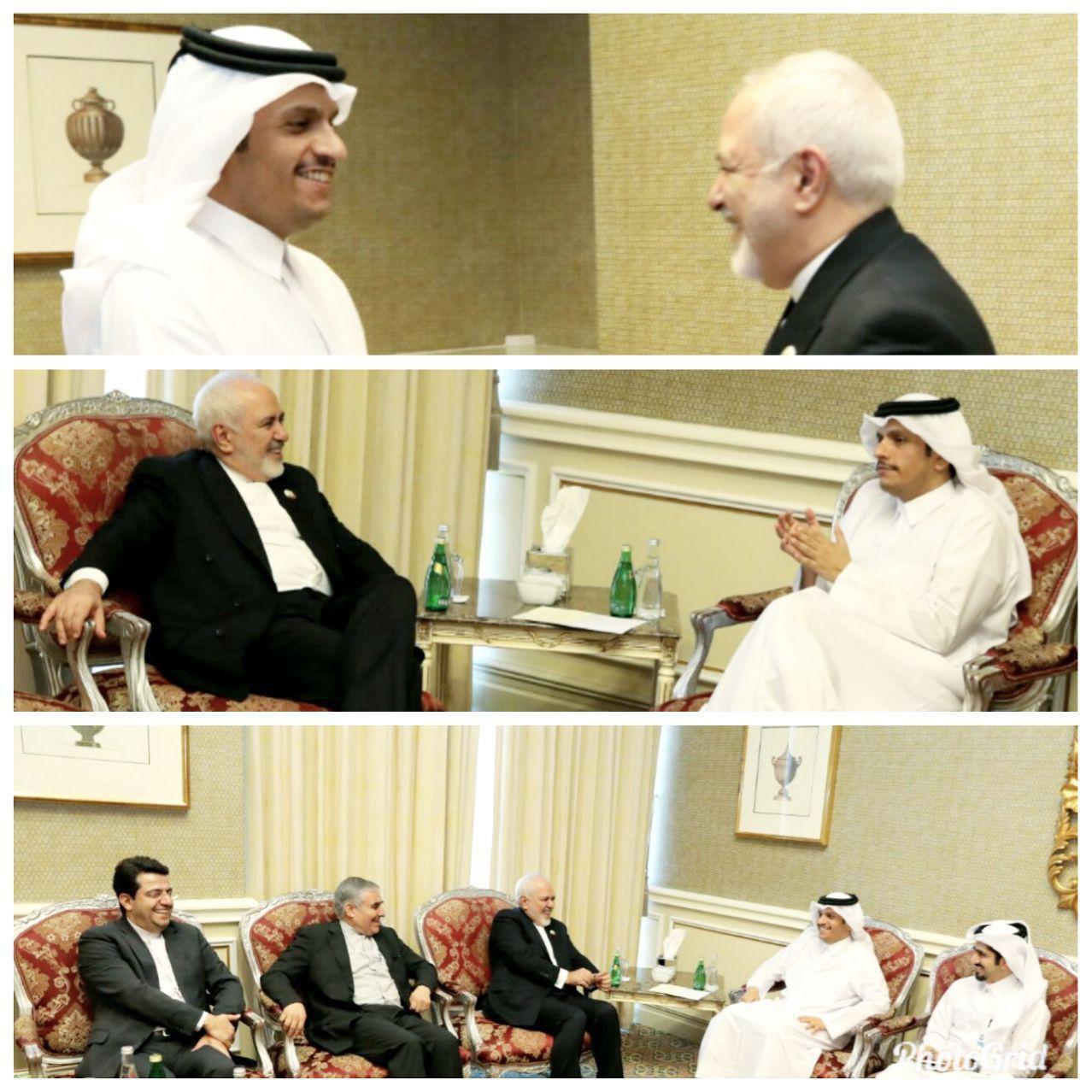 دیدار ظریف و وزیر خارجه قطر (عکس)