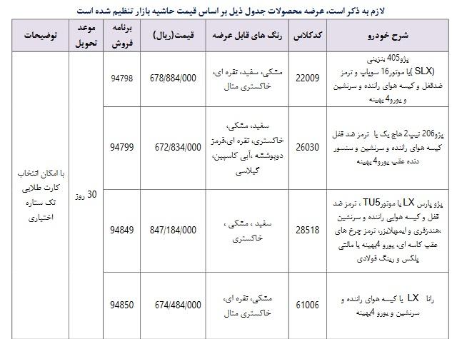 فروش فوری هم زمان 4 محصول ایران خودرو در روز شنبه 11 خرداد / ساعت فروش تغییر کرد( +جزئیات و جدول)
