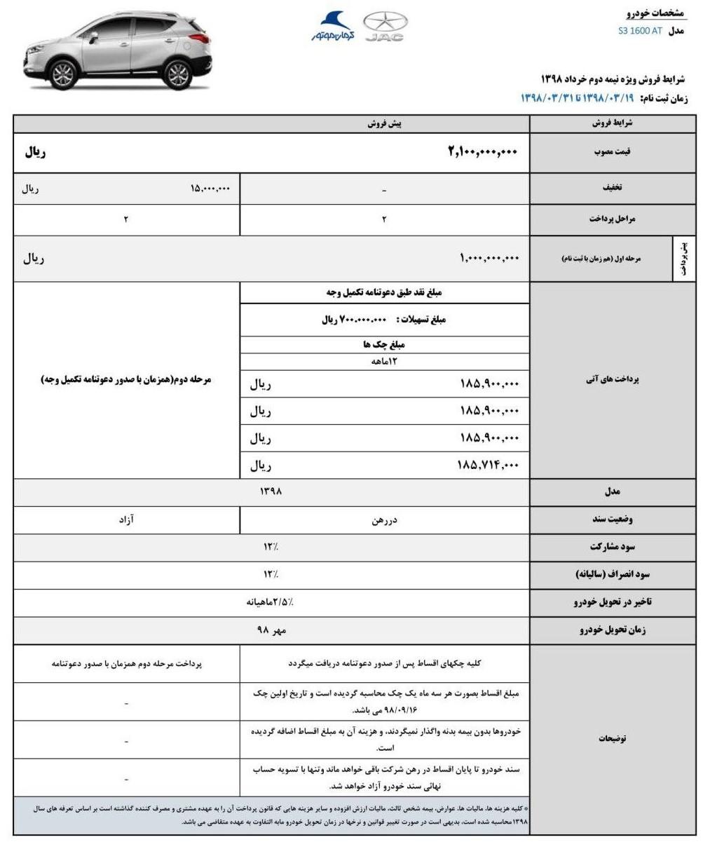 آغاز فروش جک S3 با شرایط اقساطی ویژه خرداد (+جدول و جزئیات)