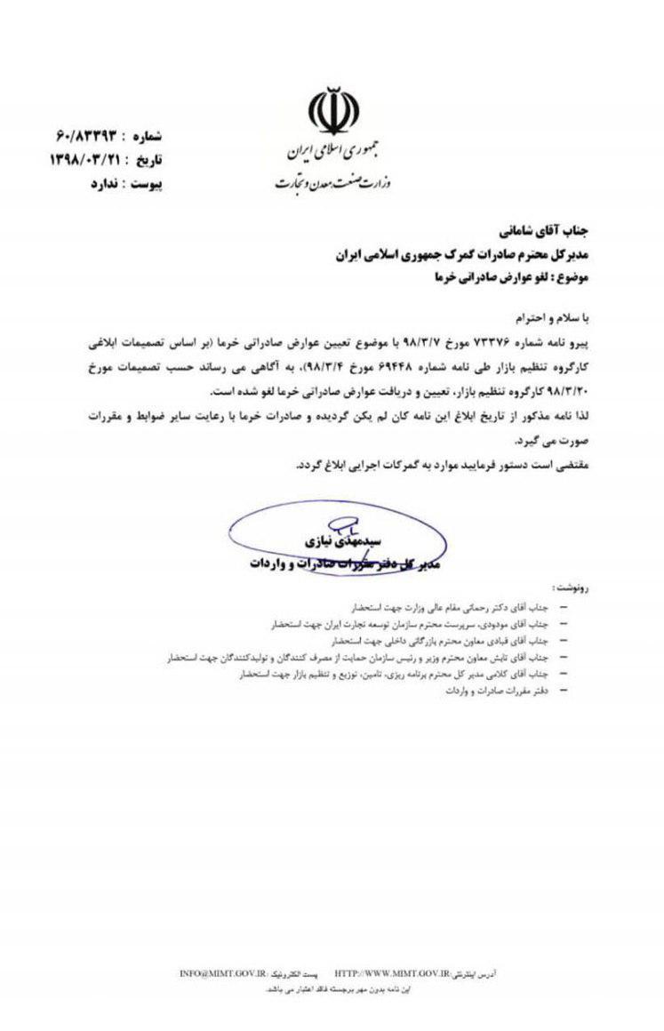 لغو عوارض صادراتی خرما پس از 14 روز