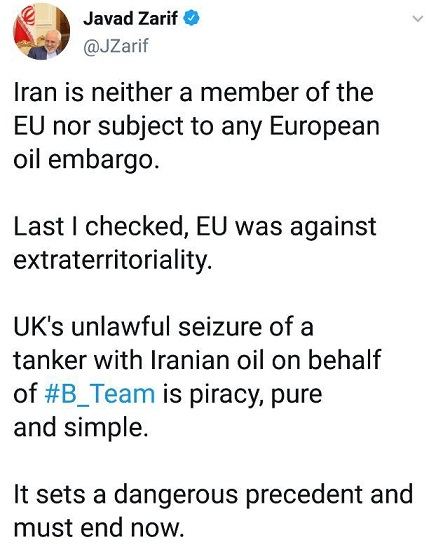 ظریف: اقدام انگلیس علیه نفتکش حامل نفت ایران دزدی دریایی است