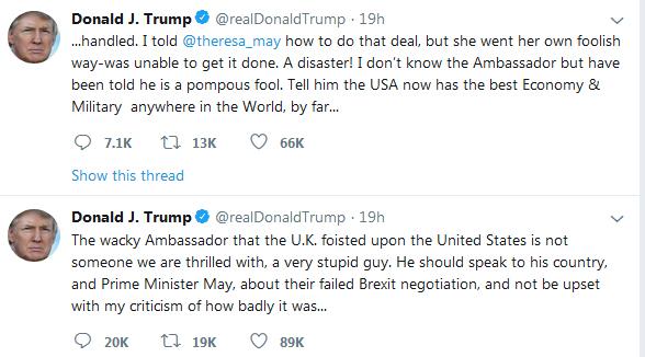 دعوای ترامپ با انگلیس: سفیر انگلیس در آمریکا گیج و احمق است/