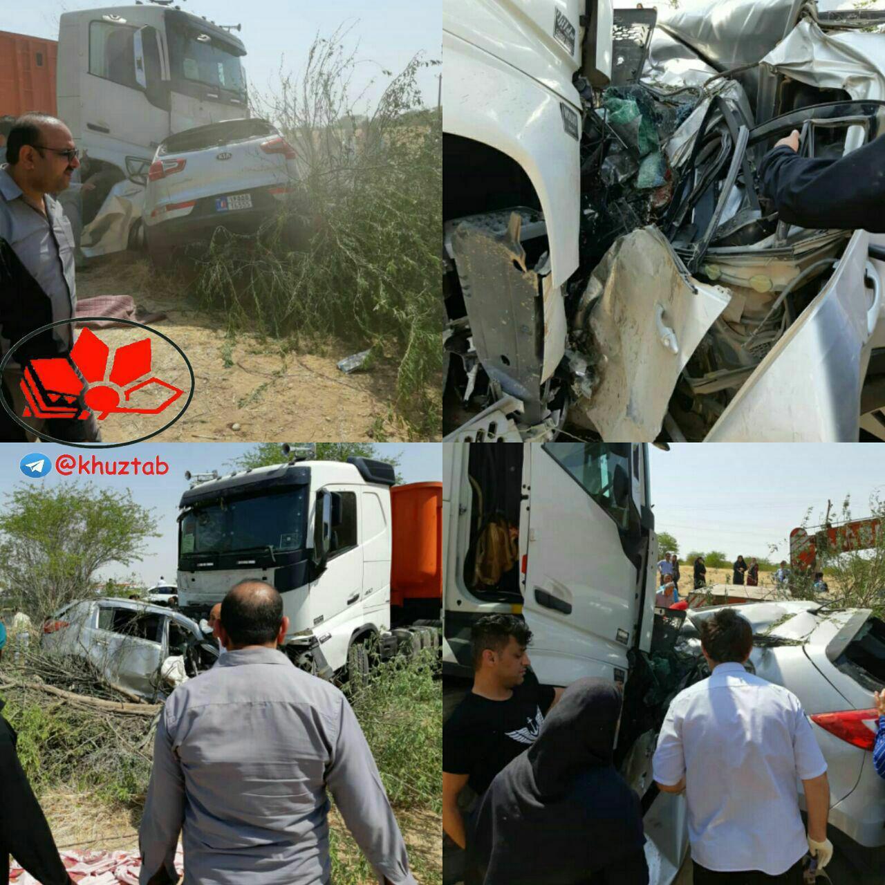 5 کشته در تصادف در جاده هفتکل به اهواز (+عکس)