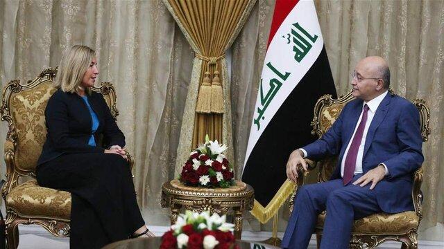دیدارهای موگرینی با مقامات عراقی/ بغداد: منطقه آماده جنگ جدیدی نیست و راهحل در مذاکره است