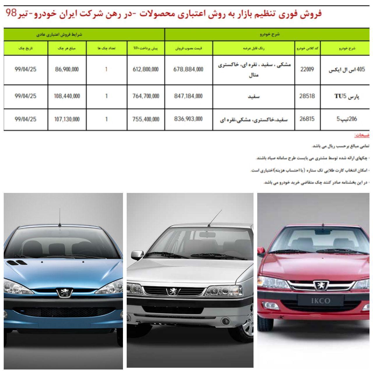 طرح جدید فروش اقساطی 3 محصول ایران خودرو ویژه 26  تیر98/ پژو 206 تیپ 5 هم به طرح فروش فوری آمد (+جدول و جزئیات)