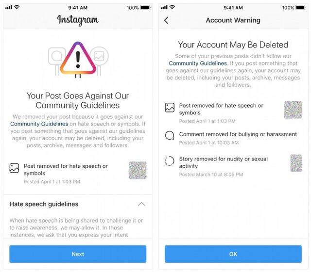 اینستاگرام مسدود شدن اکانت کاربران را خبر میدهد