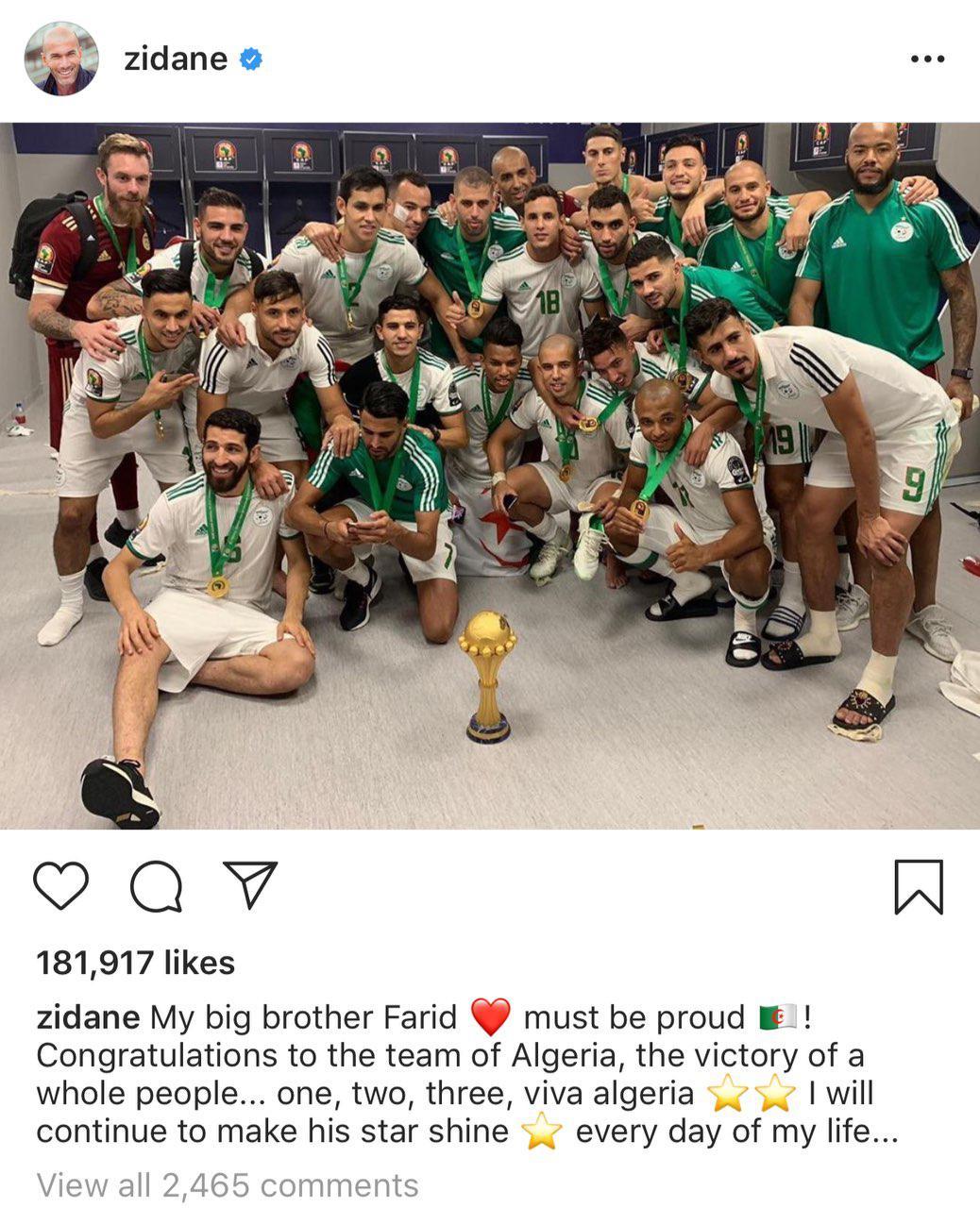 پیام تبریک زیدان به الجزایر (+عکس)