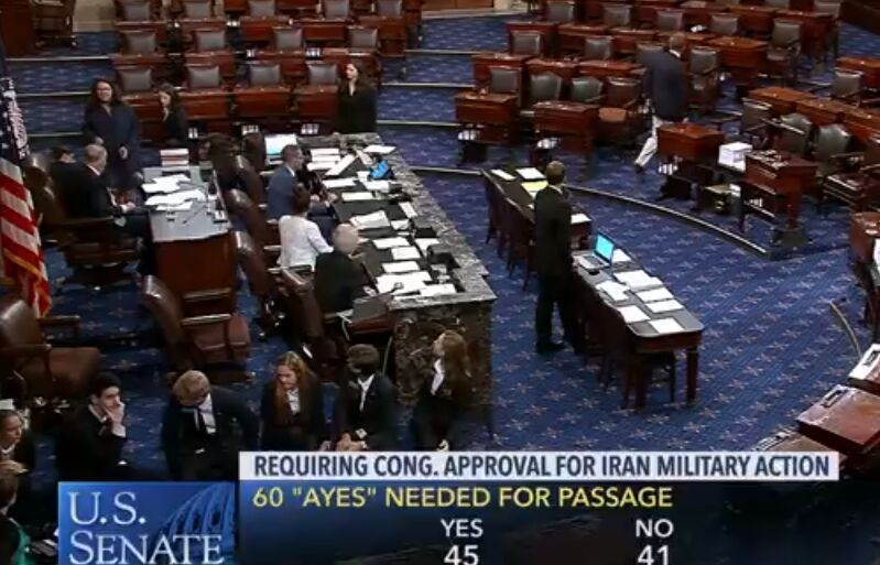 طرح موافقت کنگره برای حمله به ایران رای نیاورد/ ترامپ برای جنگ علیه ایران مختار است