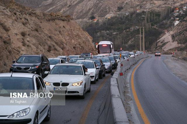ترافیک پرحجم در جاده کرج - چالوس