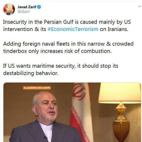 ظریف: آمریکا اگر خواهان امنیت در خلیج فارس است، از بیثبات کردن منطقه دست بردارد