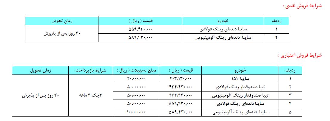 فروش نقدی و نقد و اقساطی خودروهای سایپا ویژه 11 و 12 شهریور (+جزئیات)