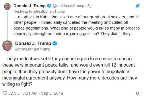 ترامپ رشته مذاكرات صلح با طالبان را پنبه كرد