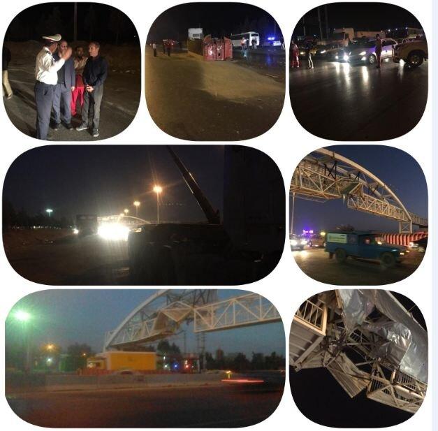 برخورد یک تریلی با پل عابر اتوبان کرج-قزوین