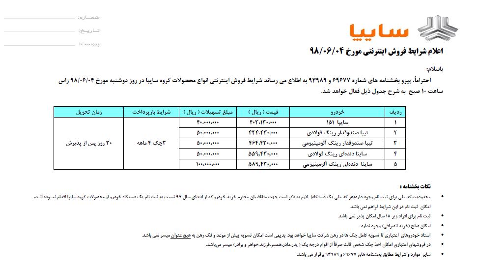 فروش اقساطی 5 خودروی سایپا ویژه دوشنبه 4 شهریور (+جزئیات و جدول)