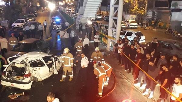 تصادف 3 خودرو سواری در تهران/ 2 کشته