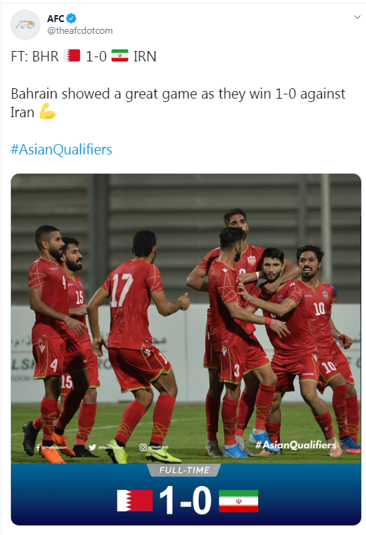 تمجید AFC از بازی بحرین برابر ایران (+عکس)