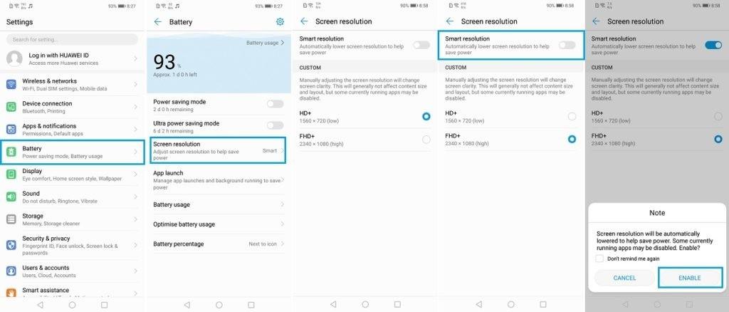 عمر بهینه باتری گوشیهای هوآوی با مدیریت هوشمند نمایشگر
