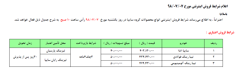جدیدترین طرح فروش اقساطی محصولات سایپا ویژه  6 و 7 مهرماه 98 (+جدول)