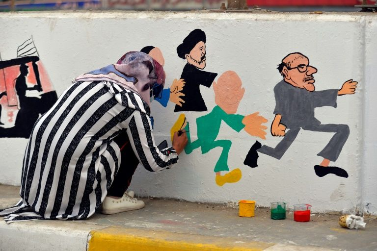 دیوارنگارههای جوانان عراق در مسیر تظاهرات/ گالری هنرهای انقلابی در خیابانهای بغداد