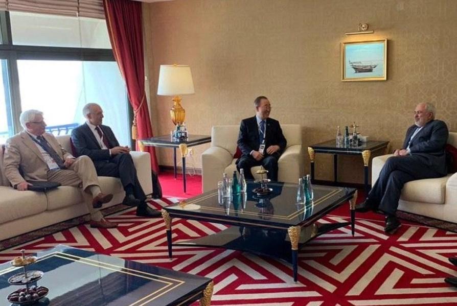 دیدار ظریف با دبیرکل سازمان ملل در قطر (+عکس)