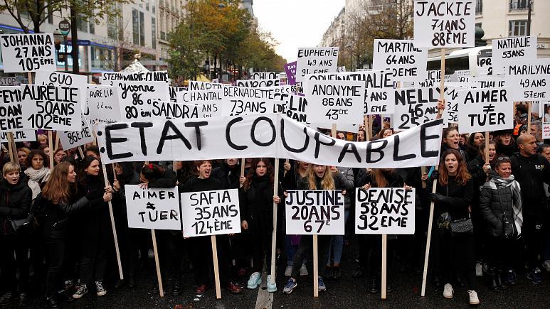 تظاهرات دهها هزار فرانسوی در اعتراض به خشونت علیه زنان