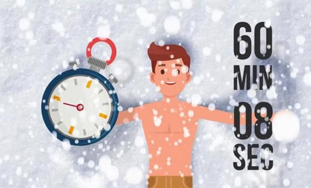 طولانیترین زمان تماس مستقیم بدن با برف