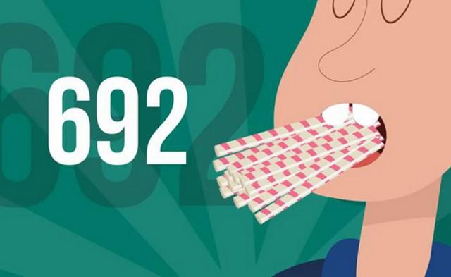 ۶۹۲ نی نوشابه را در دهان