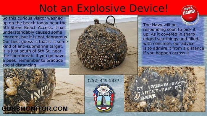 مین نظامی عجیب در سواحل کارولینای شمالی!(+تصاویر)