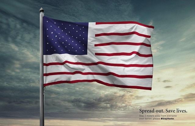 تاکید بر رعایت فاصله عمومی در برخی پرچم های جهان