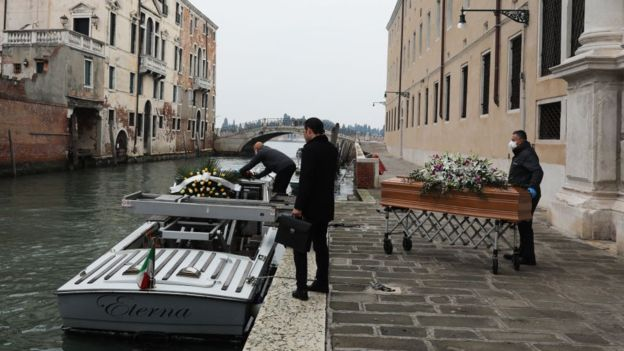 مراسم ندفین ایتالیا کرونا