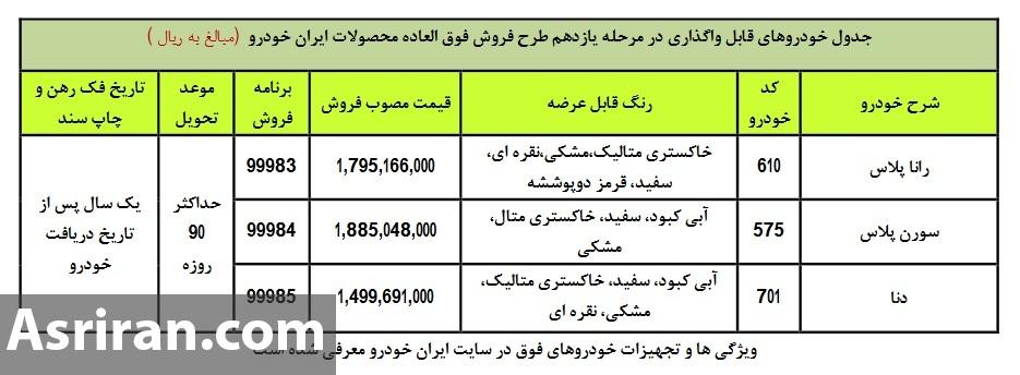 آغاز فروش فوق العاده 3 محصول ایران خودرو از 23 دی 99 (+جدول و جزئیات)
