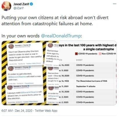 توییت ترامپ علیه ایران/ ظریف جواب داد