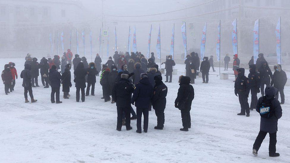 تجمع معترضان روسیه در دمای منفی 40 درجه