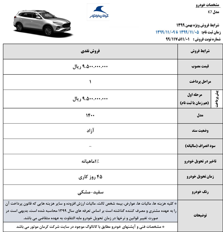 آغاز فروش خودروی شاسی بلند جدید کرمان موتور  با قیمت قطعی (+جدول فروش،قیمت، عکس و مشخصات خودرو)
