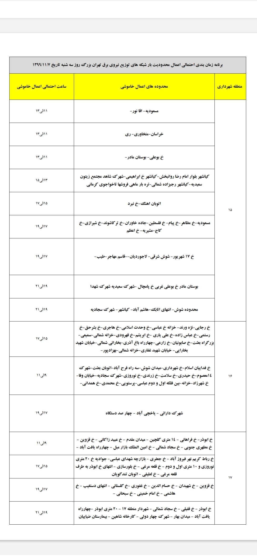 برنامه قطعی برق امروز در مناطق مختلف تهران (چدول)