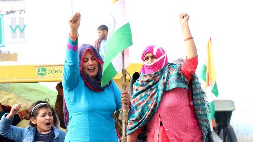 کشاورزان زن هندی در تظاهرات